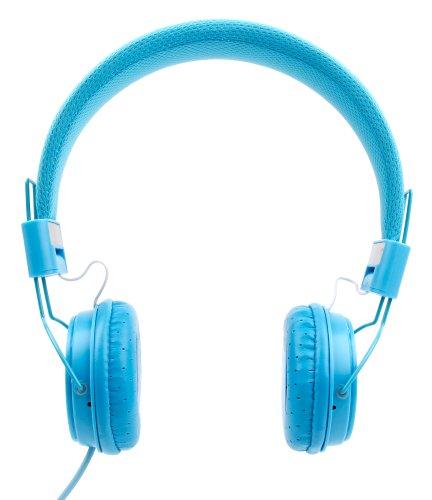Casque bleu enfant compatible avec Vtech Kidizoom Duo 5.0 (507155 / 507105) appareil photo numérique – repliable + microphone intégré – DURAGADGET