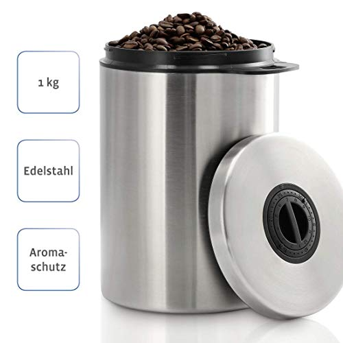 Xavax Kaffeedose für 1kg Kaffeebohnen, Behälter für Kaffee, Tee, Kakao, Aufbewahrungsdose mit Aromaverschluss, Edelstahldose, luftdicht, 1000g, silber