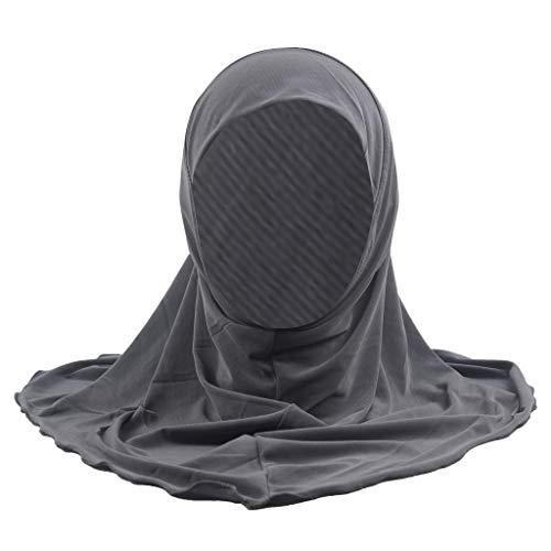 HHyyq Das Einfache Hijab Der Moslemischen Kinder Kein Dekorationbabyhut Neugeborener Weicher Baumwollturbankindhaarband-Babystirnband(Grau)