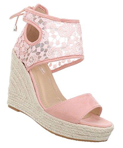 Damen Schuhe Sandaletten Keilabsatz Plateau Riemchenpumps Designer Trend Pumps Keilpumps Abendschuhe Rosa 38