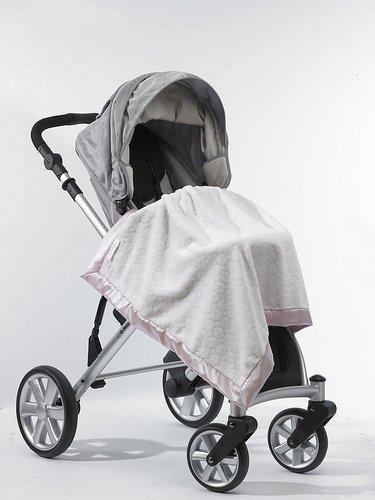 SwaddleDesigns Kinderwagendecke, Gemütliches Pastell und flauschige Kreise, Pastellrosa