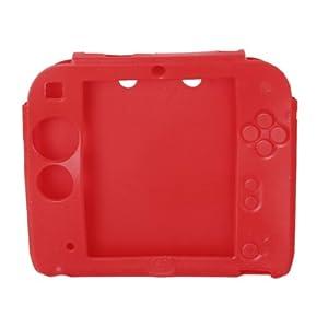 perfk Silikon Schutzhülle Schutztasche für Nintendo 2DS Cover, Schüzende vor Kratzern, Staub und Stöße, Farbwahl – Rot