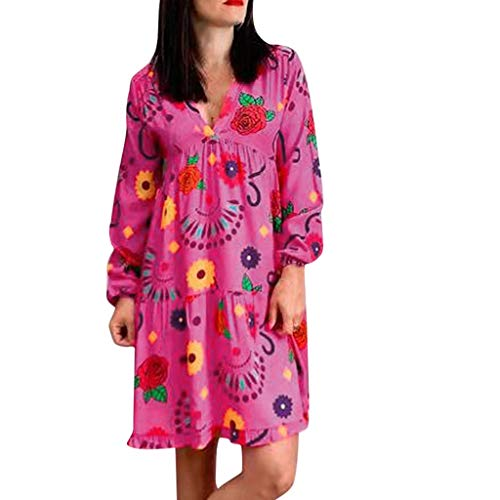 Dtuta Blusenkleid Damen Knielang, Damen Lovely Mini Floral Printing A-Linie Kleider Beach Dress Vintage Frauen Sommer Ärmelloses Party Kleide,Blusen Damen Sommer Tunika -