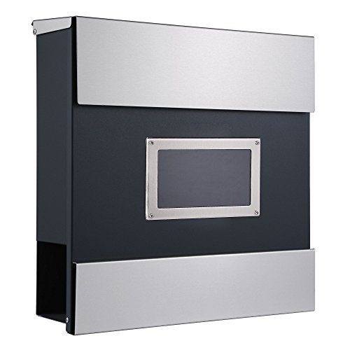 """ZELSIUS Wandbriefkasten """"Mailand"""", Briefkasten mit Sichtfenster und Zeitungsfach, Postkasten, Mailbox"""