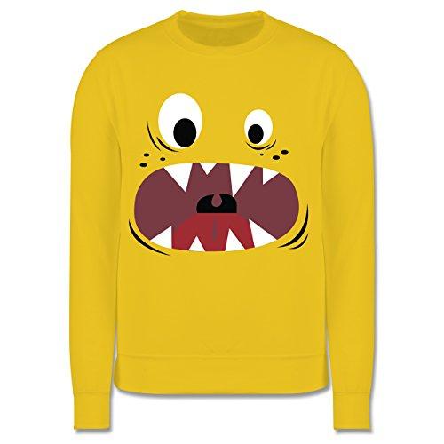Kostüm Monster Sweatshirt - Shirtracer Karneval & Fasching Kinder - Monster Kostüm Gesicht - 7-8 Jahre (128) - Gelb - JH030K - Kinder Pullover
