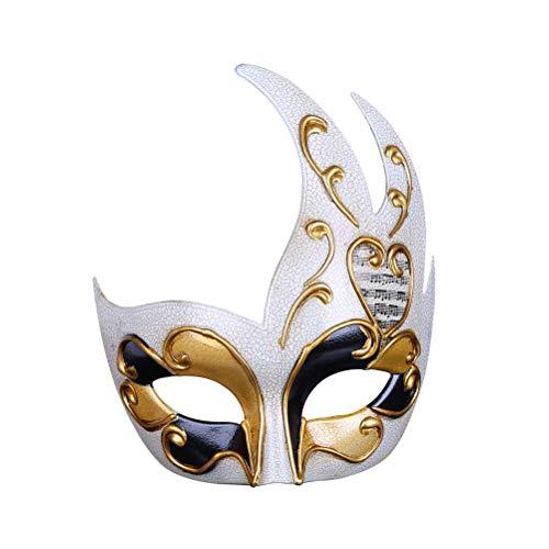 Zhhyltt Halbe Gesichts Venezianische Maske - Vintage Musical Herren Maskerade Maske für Kostüm Karneval Party