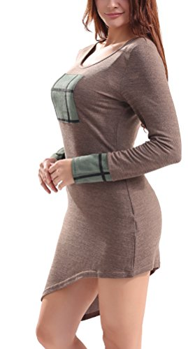 SunIfSnow - Robe spécial grossesse - Plissée - Uni - Manches Longues - Femme Marron