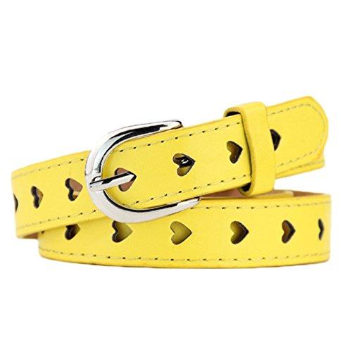 Wimagic - Cintura da Donna in Pelle a Forma di Cuore Cavo, con Fibbia ad ardiglione in Ferro di Cavallo, per Adolescenti, Pelle, Giallo, 102 * 2.5cm