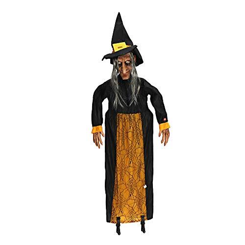 ERQINGZS Halloween-Dekoration 145 cm Halloween Prop Elektrische Sprachsteuerung Geist Spaß Animierte Sprechen Hexe Glühende Rote Augen Hängende Halloween Dekoration Prop