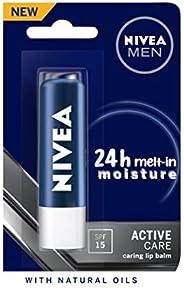 NIVEA Men 24 H melt-in mpisture Active Care clearing Lip Balm, SPF 15, 4.8g