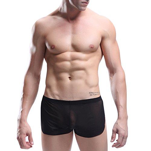 """YiZYiF Boxer translucide Sous-vêtements Homme Sexy Bref M/L/XL (L(Cienture:27.5-44.0""""), Noir) YiZYiF"""
