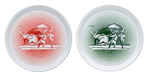 Alessi Aaa03set1 #vivanapoli Set de deux Assiettes à Pizza en Porcelaine Décorée, Rouge et Vert