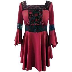 Unas Negro o Rojo (Varios Raven Medieval Gótico Lace Blusa corsé en las tallas 36–52 rojo 38