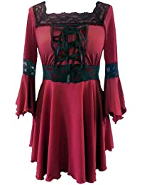 Une Robe de Soirée Corset Top Noir Gothique Médiéval Longue stretch Halloween et Sorcière - Tailles 36-58