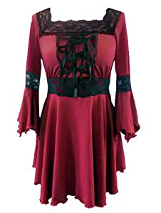 Red - Corset Raven Top Gothic Medieval Long Stretchy Halloween Witch Fancy Dress Sizes 8-10