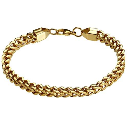 Daesar Herren Edelstahl Armbänders Curb Wheat Link Chain Armband Gold Länge:21CM