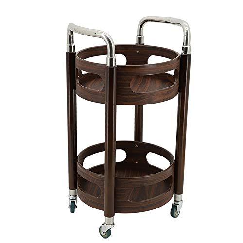 Vier Räder Tragbarer Werkzeugaufbewahrung Warenkorb Rack Schmiedeeisen Holz mobile bequem solide stabile Küche Restaurant Weinwagen Rack rot Nussbaum Farbe 40X40X77cm Mehrzweckwagen ( Color : Brown )