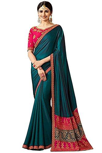 Arawins Womens Turquoise shaded Soft Satin Silk saree for women latest design...