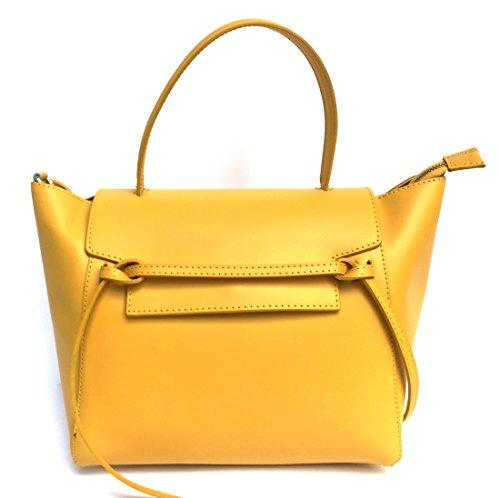 SUPERFLYBAGS Borsa in vera pelle liscia modello Laura + tracolla Made in Italy giallo
