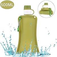 Hootracker Botellas de Agua de Silicona Plegables, Botellas de Agua Plegables a Prueba de Fugas