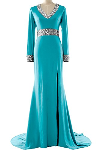 MACloth - Robe - Moulante - Manches Longues - Femme Turquoise - Turquoise