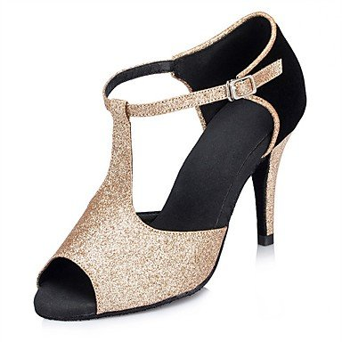 Silence @ Chaussures de danse de piste de danse pour femme Paillettes scintillantes Latin/Salsa Sandales Talon intérieure/performances noir