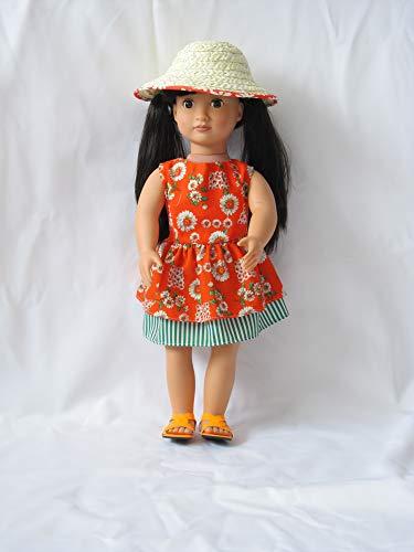 Dollies Boutique Daisy Kleid mit Sonnenhut und Sandalen für DesignAfrican Our Generation; Sindy, Carly; Cayla; American Girl und andere 45,7 cm große Puppen