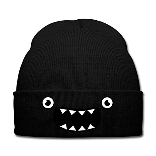Spreadshirt Funny Monster Gesicht Wintermütze, Schwarz