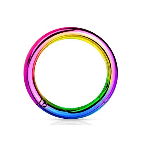 Kultpiercing - Universal Segment Piercing Segmentring Septum Tragus Helix Ohr Nase Lippe Brust Intim Scharnier Clicker Ring - 1,6 x 12 mm - Multicolor