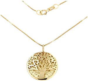 forme di Lucchetta per Donna - Collana con Ciondolo Medaglia Albero della Vita in Oro Giallo - Catenina Veneziana - Made in Italy Certificato, XD8431