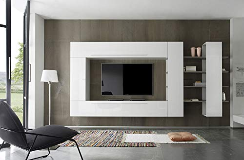 Kasalinea Filipa TV-Bank weiß lackiert und Eiche Grau -
