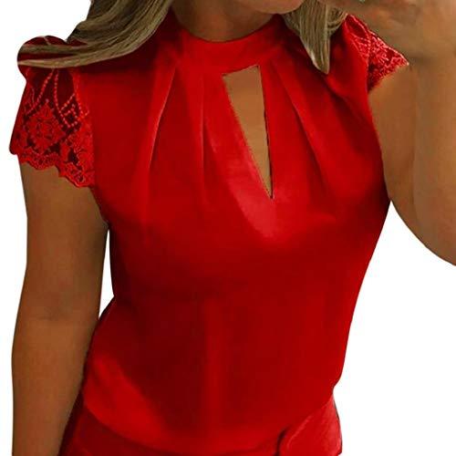 Rovinci Sommer Damen Kurzarm Bluse Lose Spitze Patchwork Cut Out Tops T-Shirt Tunika Einfarbig Neckholder Oberteile Perspektive Top Hemd Streetwear Hemd Streetwear Tee Shirt (L, Rot)