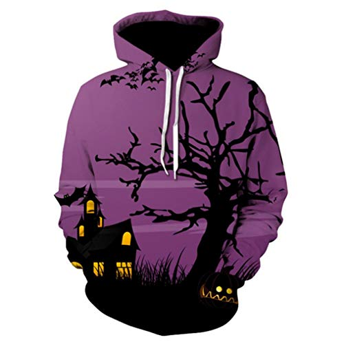 (iHENGH Sweatshirt Tops,Männer Frauen Mode 3D Drucken Lange Ärmel Halloween Paare Hoodies Top Bluse Shirts)