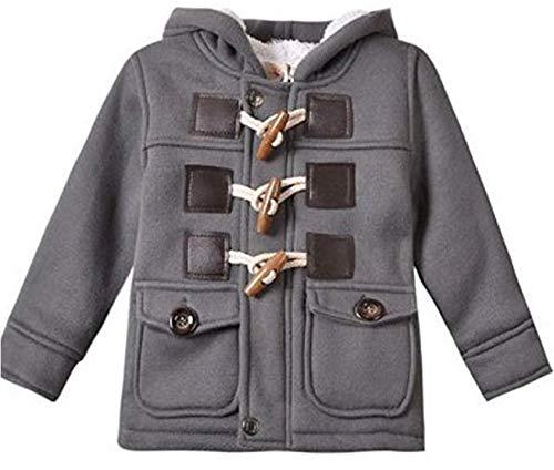 Baby Kapuzenmantel Wolle Strickjacke Strickjacke 2019 Unisex lang Warm Winter Horn Knopf Mantel Baumwolle Kinder Kapuzenjacke Schneeanzug Jacke 1-2 Jahre grau -