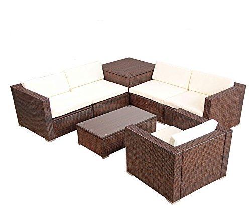 Favorit POLY RATTAN Lounge Gartenset BRAUN Sofa Garnitur Polyrattan UD85