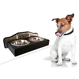 Futterbar, Hundebar Sonderanfertigung von i-napf, EDELSTAHL Fressnapf hängend mit Bodenfreiheit zum wischen, Edelstahl Napf stoß- und kratzfest pulverbeschichtet, 2 x 0,2 Liter Edelstahl Napf für kleine Hunde und Katzen