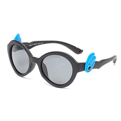 Y-WEIFENG Angel Wings Cute Kids Sonnenbrillen Polarisierte Gläser UV-Schutz Jungen und Mädchen Alter 3 bis 12 mit Geschenkbox (Farbe : Schwarz)