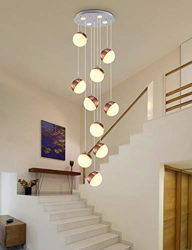 Ceiling lighting Multi Lichter Lange Kronleuchter Für Wohnzimmer Treppe Rotierenden Treppe Pendelleuchte Multi Kugeln Treppe Dekoration Kronleuchter Moderne Beleuchtung Große Größe (größe : 10 Balls)