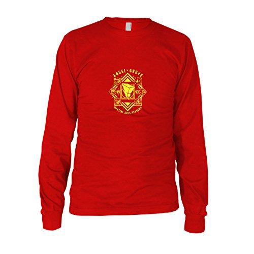 Angel Grove Academy - Herren Langarm T-Shirt, Größe: XXL, Farbe: rot (Power Rangers Megaforce Roter Ranger Kostüm)