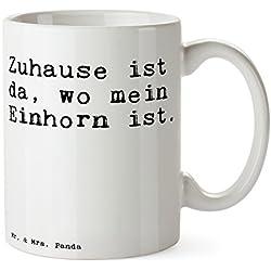 """Mr. & Mrs. Panda Tasse mit Spruch """"Zuhause ist da, wo mein Einhorn ist. """" - 100% handmade aus Keramik - Tasse, Tassen, Becher, Kaffeetasse, Kaffee, Geschenkidee, Geschenk, Tee, Teetasse, Tee, Cup, Schenken, Frühstück Einhorn, Zuhause, Wohnung, Home sweet home, Heimat, Unicorn Spruch Sprüche Lustig Spass Geschenk Geschenkidee Zitate"""