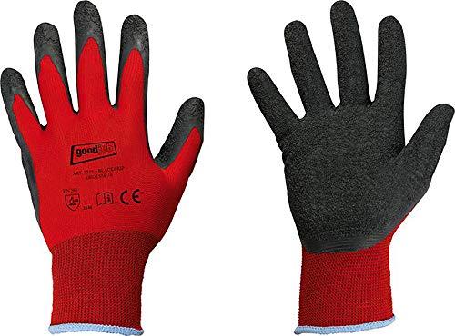12 Paar Arbeitsshandschuh Nylon mit schwarzer Latexbeschichtung EN388 (10)