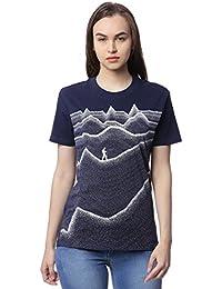 Wolfpack Journey up The Mountain Roud Neck Short Sleeve 100% Cotton Navy Blue Girls/Womens T-Shirt for Adventurous Folk