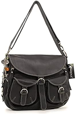 Catwalk Collection Big Leather Cross-Body Bag - Courier - Black