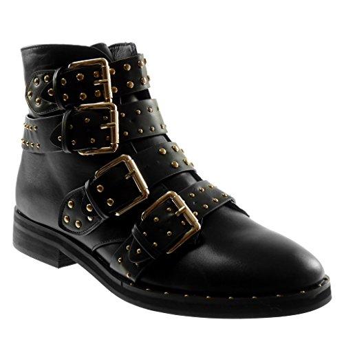 Angkorly damen Schuhe Stiefeletten - Biker - String Tanga - Nieten - besetzt - golden Blockabsatz 3 CM - Schwarz 2 W06-9 T 40