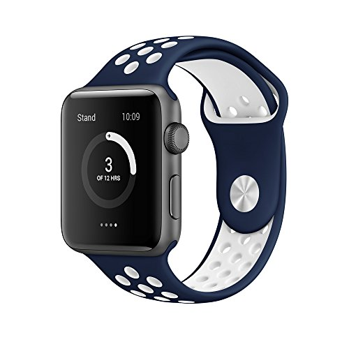EloBeth For Apple Watch Armband Series 1 Series 2- Sport Smart Watch Silikon Strap Replacement Wrist Band Uhrenarmband Ersatzband Bügel für Apple iWatch/Apple Watch Nike+ (42mm, Navy/Weiß)