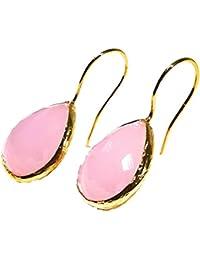 BRANDELIA Pendientes Colgantes Dorados con Cuarzo Rosa 24K Baño de Oro