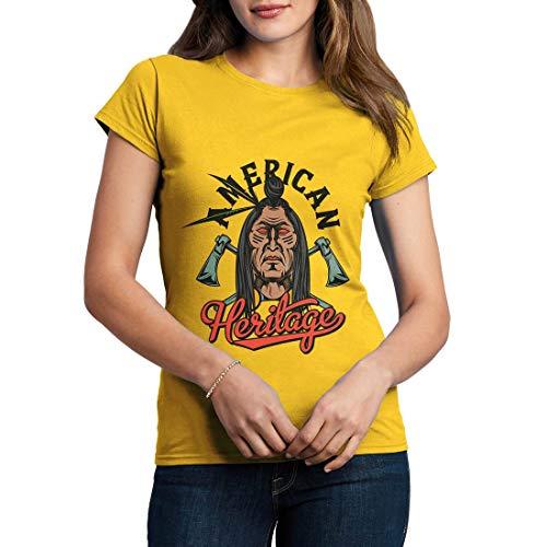 C896WCNTY Damen T-Shirt Heritage American Indian Chief Spirit Warrior Axe Wild Free Bike Motorcycle Heritage Vintage Tattoo(XX-Large,Yellow) American Heritage 8