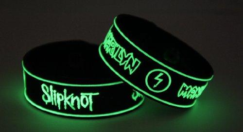 SLIPKNOT Marilyn Manson 2pcs NEU. Glow In The Dark Wristband 2X 16G14