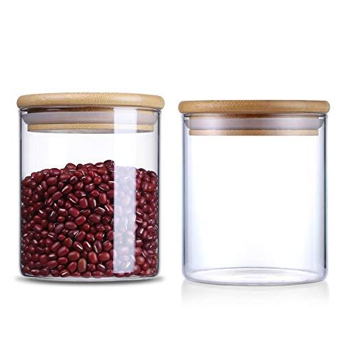 Vorratsdosen aus Glas, luftdichter Silikon-Dichtungsring, für Küche, Lebensmittel, Behälter mit Bambus-Deckel, 2 Stück, 450 ml (Küche Glas Behälter)
