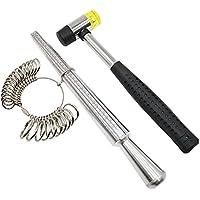 Niupika - Juego de anillos de metal y mandril con joyeros, martillo de goma y herramientas de tallaje para dedos de mazo, tamaño del Reino Unido, tallas A a Z, herramienta de reparación de joyas de acero